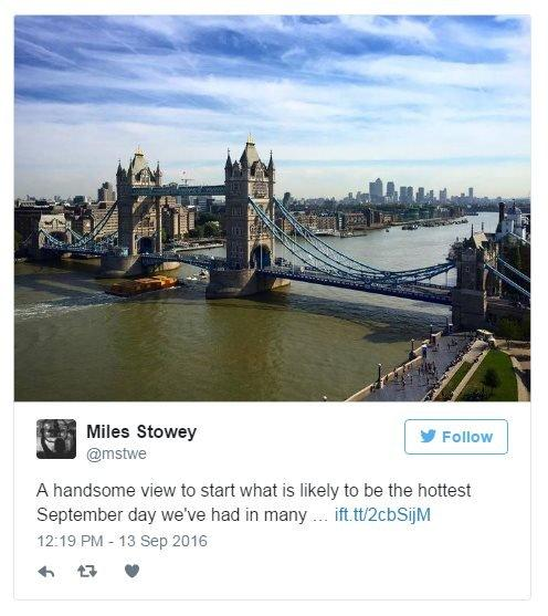 Miles Stowey on Twitter: A handsome view to start what is likely to be the hottest September day we've had in many a year. Photo: Bright sunshine over Tower Bridge.
