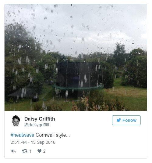 Daisy Griffith on Twitter: Heatwave, Cornwall style. Photo: A heavy shower over a garden and trampoline.