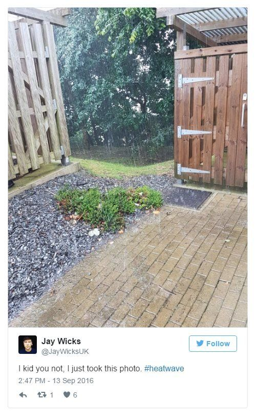 Jay Wicks on Twitter: I kid you not, I just took this photo. Hashtag: Heatwave. Photo: Heavy downpour in Falmouth, Cornwall.