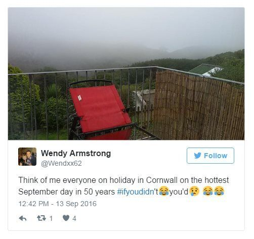 Wendy Armstrong on Twitter: Think of me, everyone, on holiday in Cornwall on the hottest September day in 50 years. If you didn't laugh, you'd cry. Photo: Deep, foggy drizzle in Cornwall.