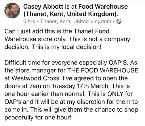 Facebook post by Iceland Thanet store manager