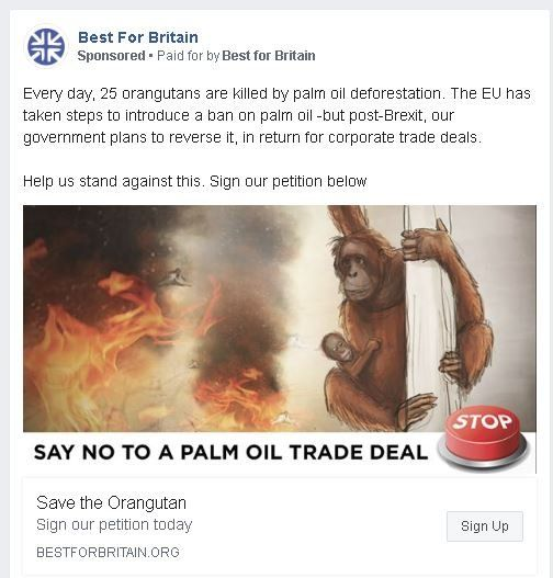 """""""Every day, 25 orangutans are killed by palm oil deforestation. The EU has taken steps to introduce a ban..."""""""