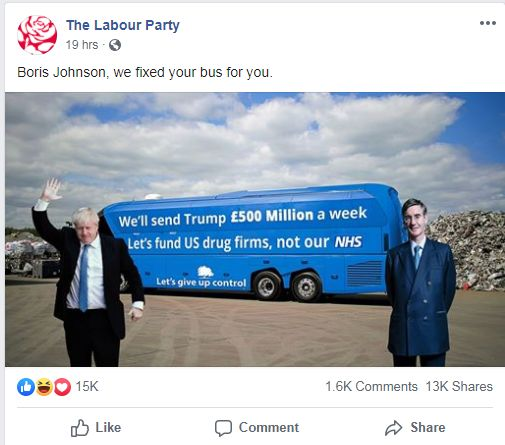 """labour party advert with bus reading: """"we'll send Trump £500 million a week. Let's fund US drug firms, not our NHS"""", with pictures of Boris Johnson and Jacob Rees Mogg photoshopped onto it"""