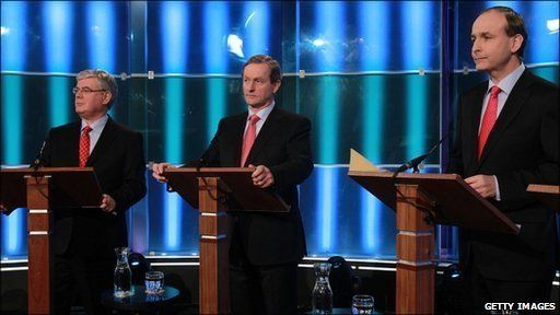 Eamon Gilmore of Labour, Enda Kenny of Fine Gael and Micheal Martin of Fianna Fail will take part in the final live television debate ahead of the election