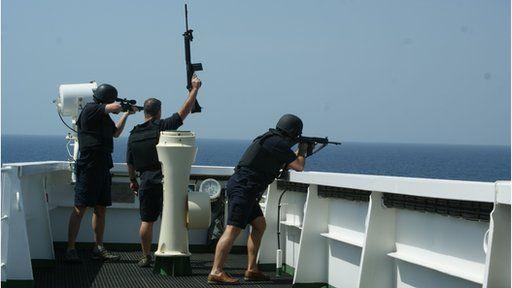 Armed security team on board MT Sea Legend
