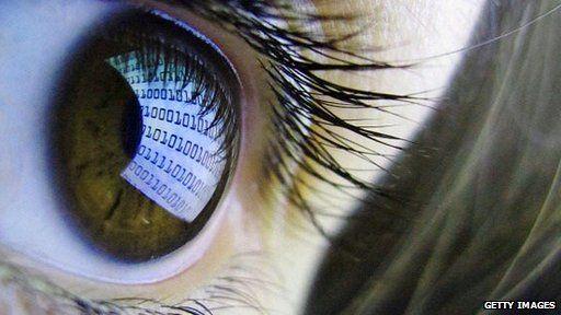 Eye with computer code