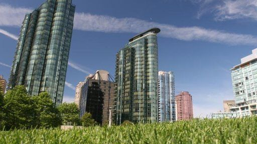 City with grass in foreground