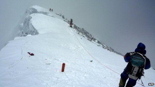 Mountaineers climbing Mount Everest