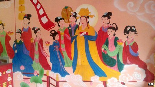 """Ancient Buddhist frescos in a temple in northern China after """"restoration"""""""