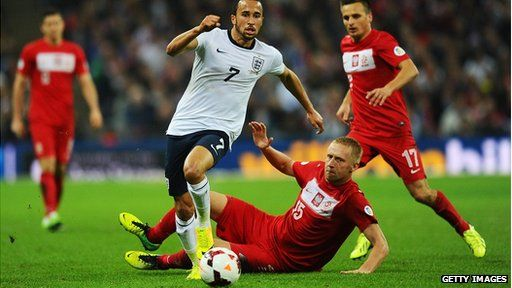 Andros Townsend of England evades Kamil Glik of Poland during the Fifa World Cup qualifying match
