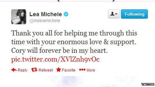 Lea Michele post on Twitter