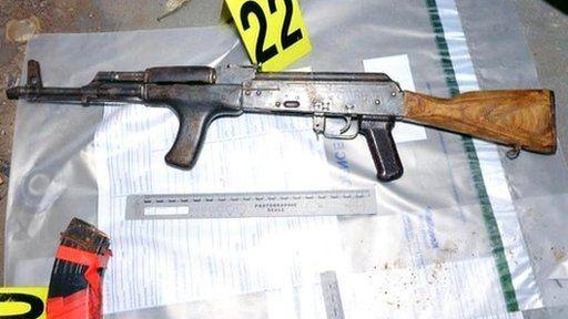 Assault rifle and magazines