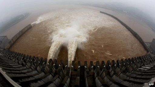 Water being released from dam