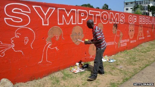 A street artist, Stephen Doe, paints an educational mural to inform people about the symptoms of the deadly Ebola virus in the Liberian capital Monrovia