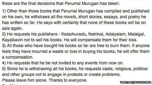 The translation of Tamil author Perumal Murugan's post