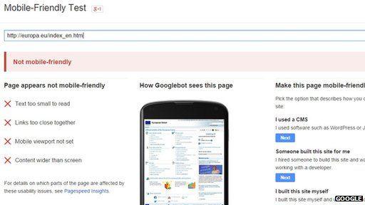 EU's Google mobile friendly test results