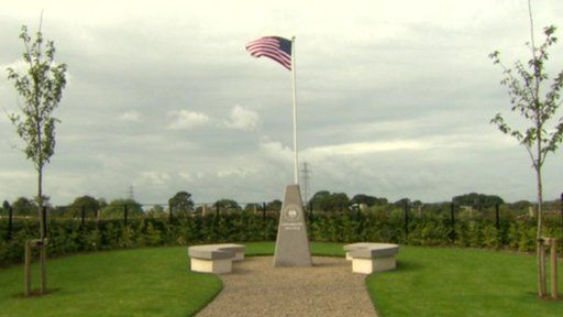 The US flag flies above the new monument in Lisnabreeny American military cemetery