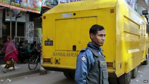 A policeman outside the office of the main opposition Bangladesh Nationalist Party (BNP)