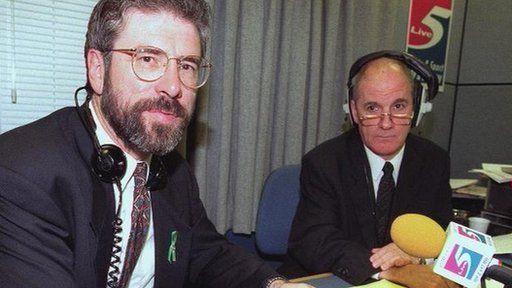 Sinn Fein president Sinn Fein speaking on BBC Radio Five Live to promote a book in September 1996