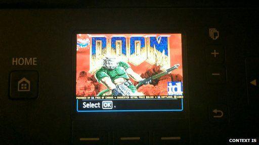 Doom running on printer