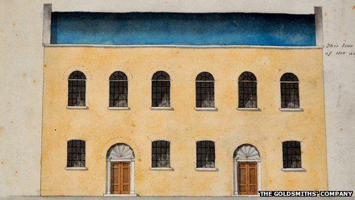 Capel Jewin Crescent fel y byddai wedi edrych yn 1823