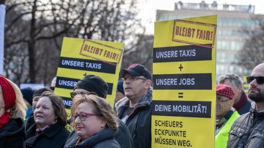 German Uber protesters