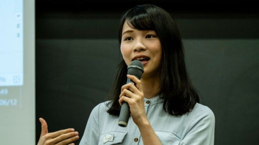 Hong Kong Activist Agnes Chow speaks at Meiji University on June 12, 2019 in Tokyo, Japan.
