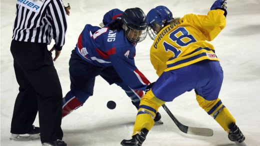 The athletes of Team Korea in action during the Women's Ice Hockey friendly match against Sweden