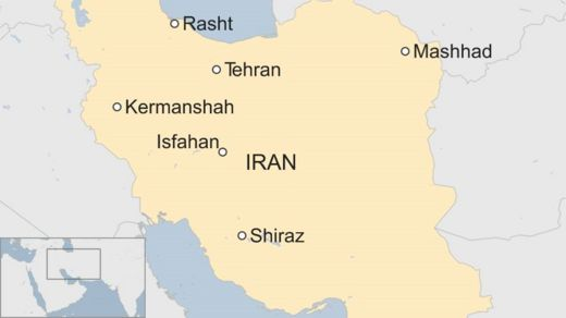 Map showing cities in Iran where protests are occurring