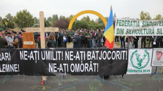 Forestry unionists protested outside parliament in Bucharest in September 2019 over lack of resources and safety