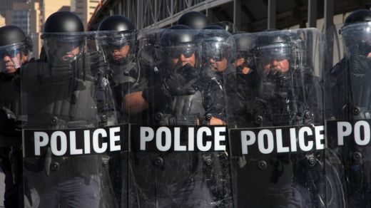 US riot police officers take part in a border security drill at the US-Mexico international bridge