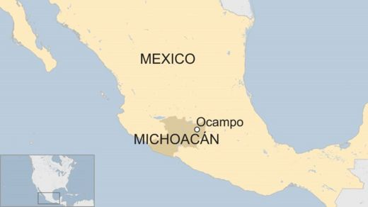 Map of Mexico showing Ocampo and Michoacán state