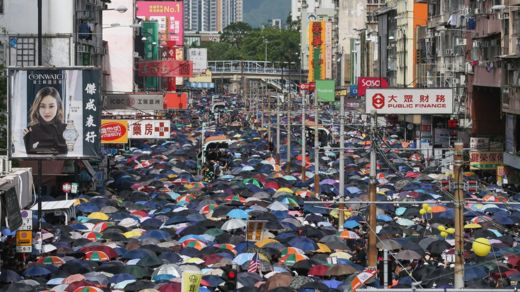 Anti-extradition bill protesters attend a mass rally in Yuen Long, New Territories, Hong Kong, China, 27 July 2019
