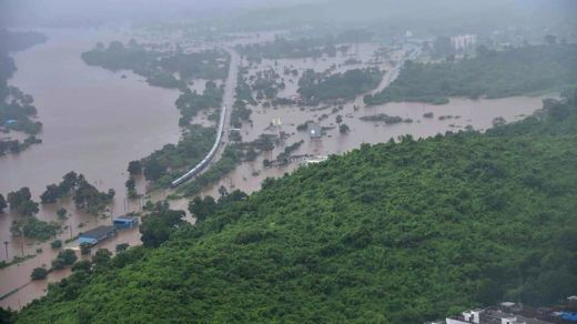 An aerial view of the train caught in flooding