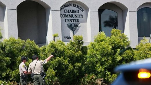 San Diego Sheriff deputies look over the Chabad of Poway Synagogue after a shooting on Saturday, April 27, 2019 in Poway, California