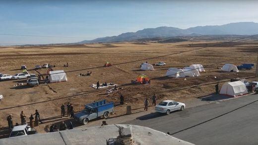 People in tents following Iran earthquake