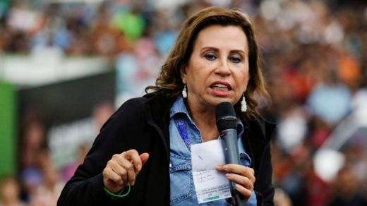 Sandra Torres speaks during a campaign rally ahead of the second round run-off vote in Ciudad Peronia