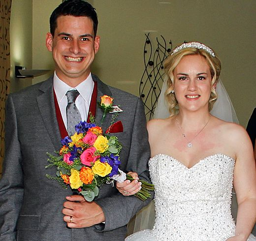 Tom and Kirsty on their wedding day in 2015