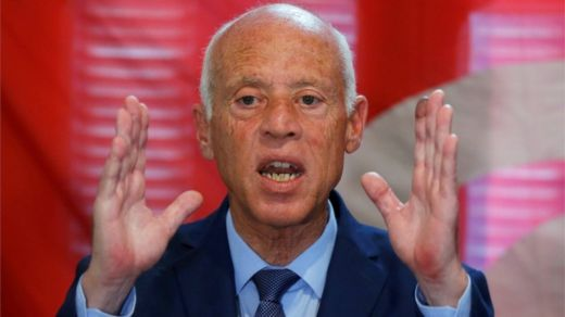 "Presidential candidate Kais Saied speaks during a news conference after the announcement of the results in the first round of Tunisia""s presidential election in Tunis, Tunisia September 17, 2019."