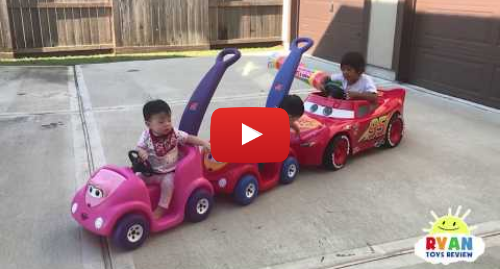 Publicación de Youtube por Ryan ToysReview: Ryan's Drive Thru Adventure with Lightning McQueen Power Wheels Ride On Car