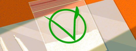 Illustration of a bag of cocaine with a V vegan symbol on it