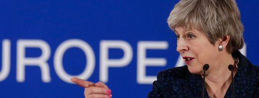 Theresa May speaking at the EU summit in Brussels on Thursday