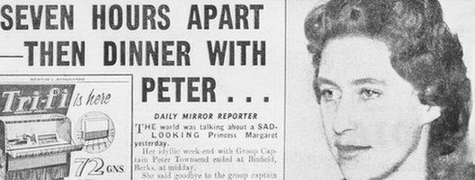 Daily Mirror front page with Princess Margaret story
