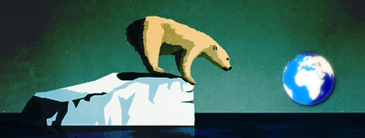 Illustration of a polar bear on a tiny piece of ice looking at planet Earth