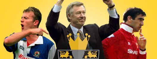 Alan Shearer (left), Sir Alex Ferguson (centre) and Eric Cantona (right)