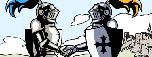 Animated image of 2 knights shaking hands