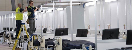 Fitting bed bays inside NHS Nightingale