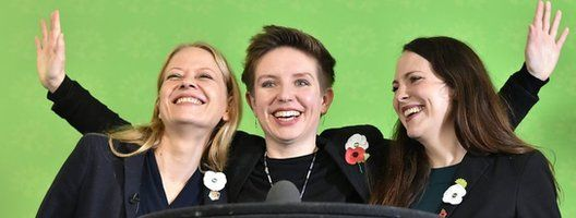 Sian Berry, Carla Denyer and Amelia Womack