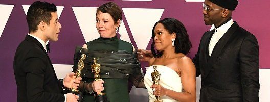 Rami Malek, Olivia Colman, Regina King and Mahershala Ali with their Oscars statuettes