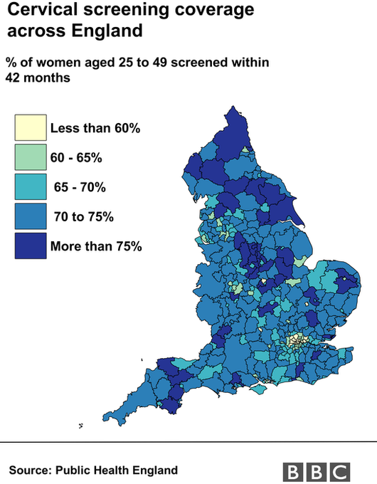 Map showing cervical screening rates across England